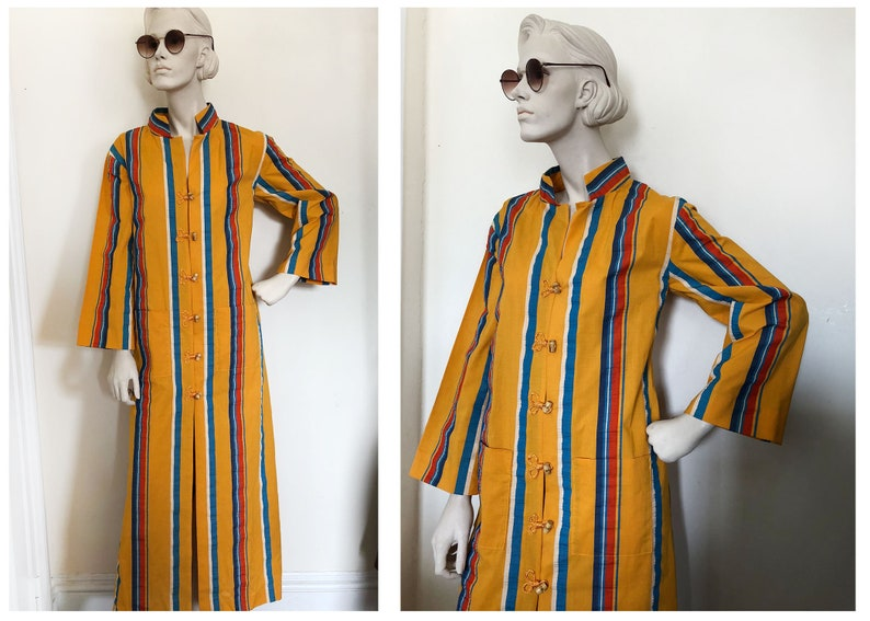 add26075cb Colorful Mod kaftan robe    Vertical striped marigold caftan