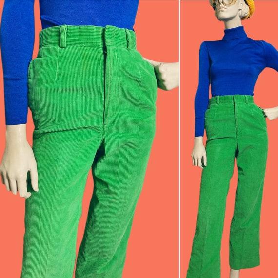 1970s Lime Green Corduroy Pants// straight cut 70s