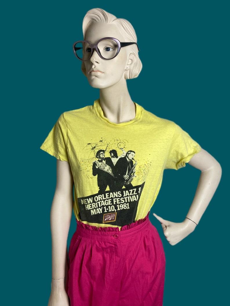 Vintage 1981 Jazz Fest shirt  Vintage music festival tee shirt  soft worn comfy yellow tee size SM