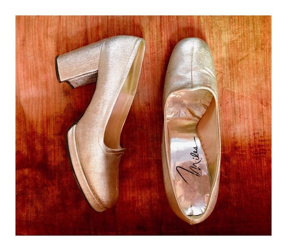 Rare VTG glittery silver platforms// 1960s glam ol