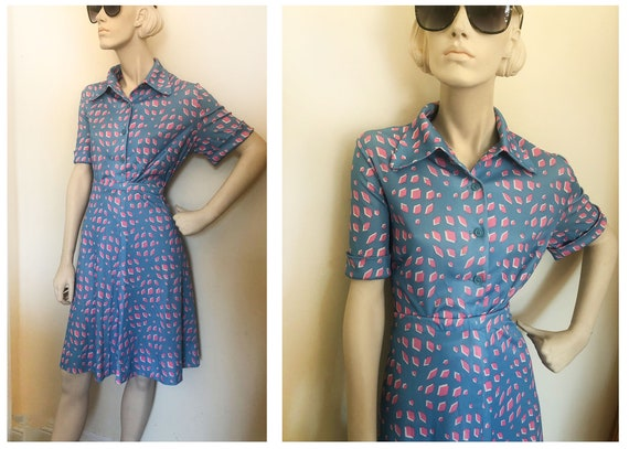 1970s MCM print Two piece skirt set // A-line skir