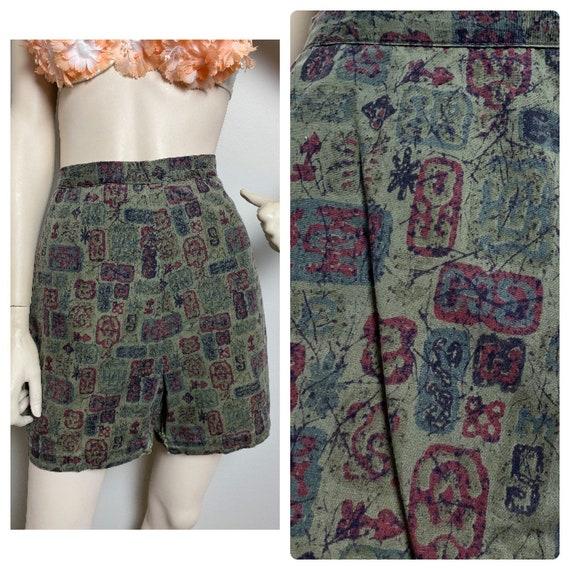 VtG 1950s green Tiki print shorts // 1950s pin up