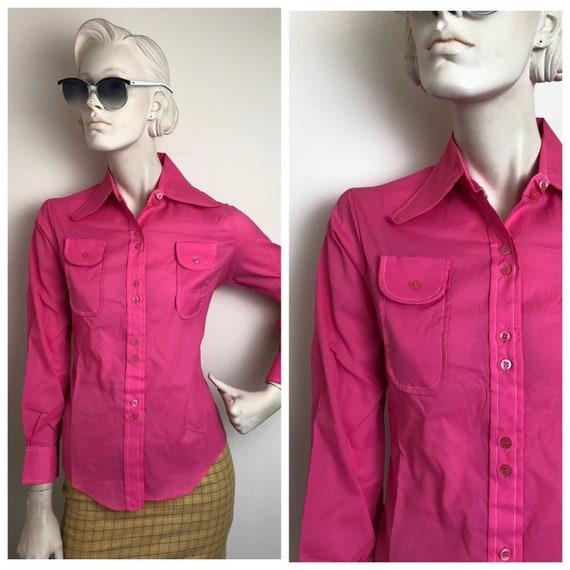 Vtg Bubblegum pink top// Beagle collar 60s 70s hot