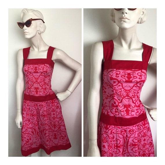 1960s Hot pink drop waist mini dress // red and pi