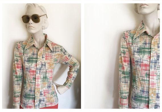 70s MOD art disco shirt // Modern art inspired dis