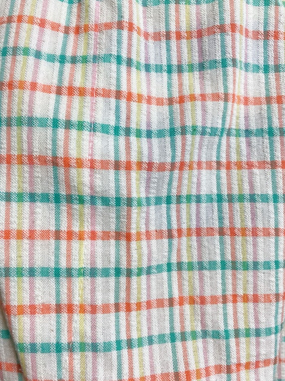 80s cotton Candy Rainbow plaid pants// pastel See… - image 5