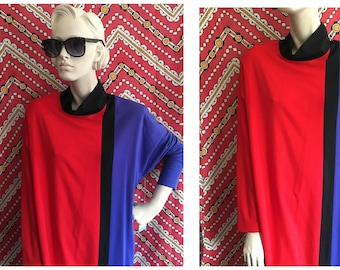 MOD Color blocked dress with turtle neck and dolman sleeves . 80s do the 60s // Oversized slouchy dress // minimalist design size XL