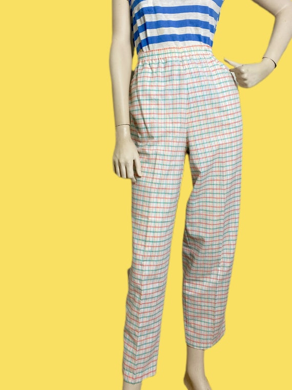 80s cotton Candy Rainbow plaid pants// pastel See… - image 2