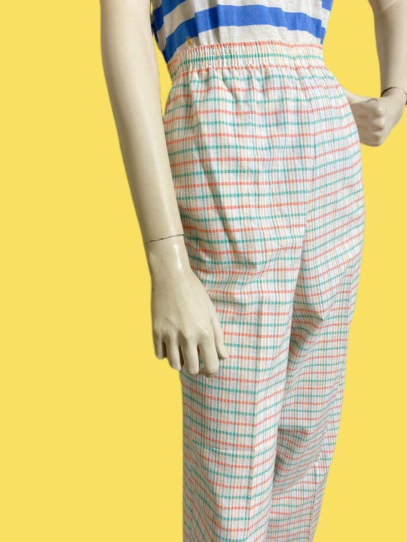 80s cotton Candy Rainbow plaid pants// pastel See… - image 3