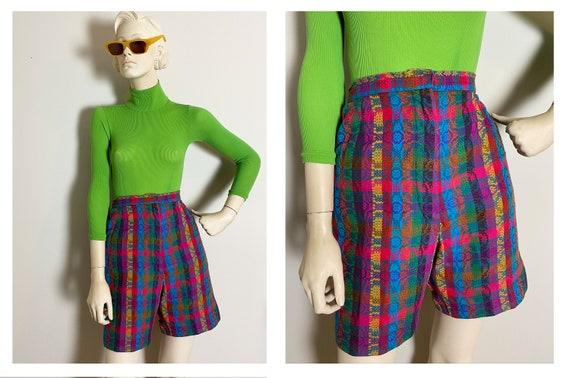 Rainbow 1950s Bermuda shorts // High rise tiki abs