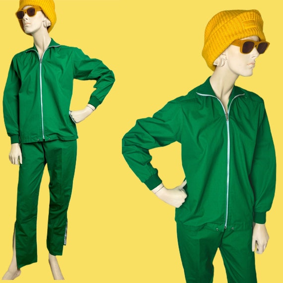 Vtg 80s/90s green track suit //Kelly green Liga sp