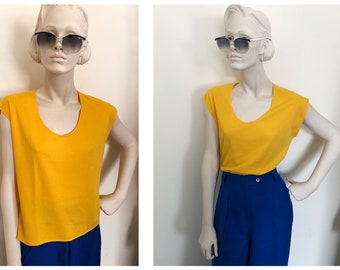 80s canary yellow shell stop // 1980s cropped boxy top // soft thin yellow 80s tee // capped sleeve tank