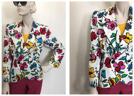 Bold pop art Flower blazer// 1980s wildflower whit