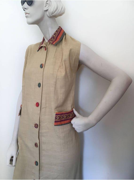 Sand-N-Sun sleeveless tiki dress. Mid century Cali