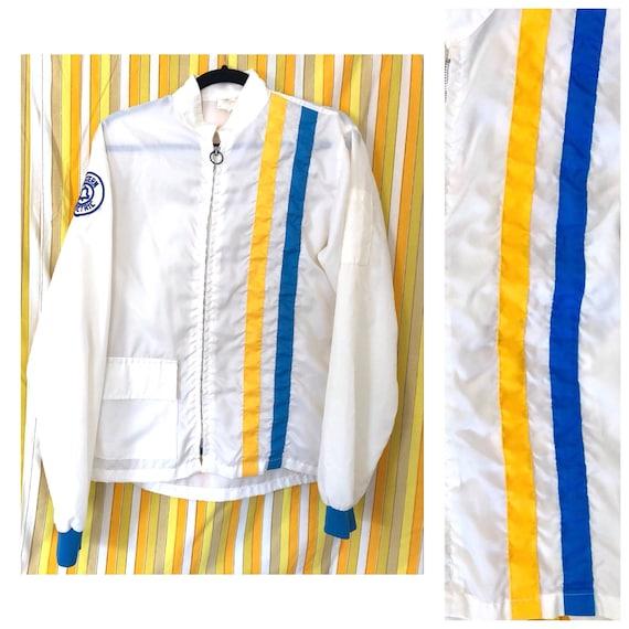 70er jahre jacke blau gelb