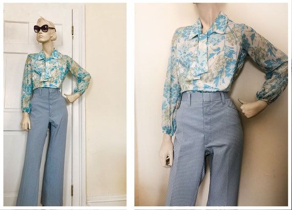 1970s Blue Gingham flairs// 1970s poly pants // ea