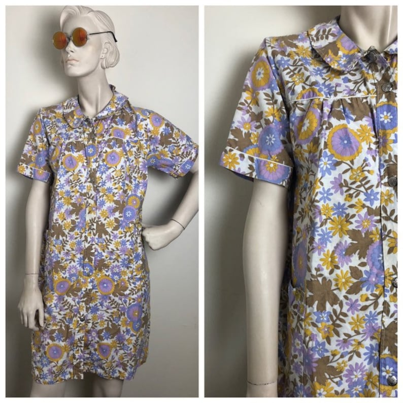 be8ff30122 Groovy Wildflower 70s house dress    iconic 60s 70s house coat