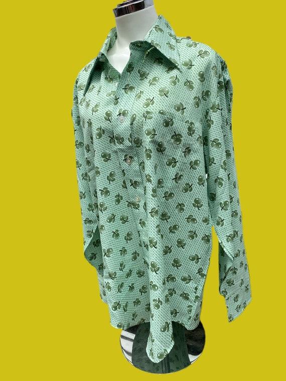 1970s MOD novelty print Olive shirt// fruit print… - image 3