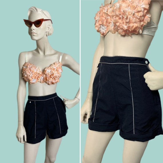 1950s pinup shorts // black and white 50s rockabil