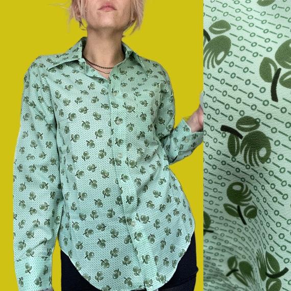 1970s MOD novelty print Olive shirt// fruit print… - image 1