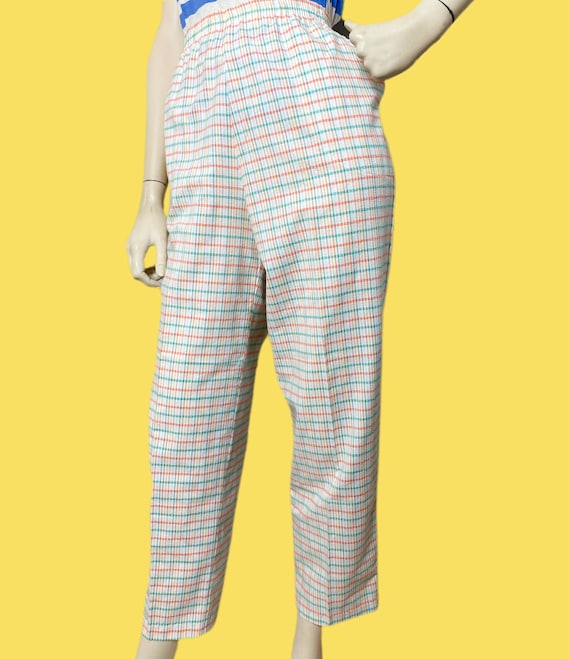 80s cotton Candy Rainbow plaid pants// pastel See… - image 4