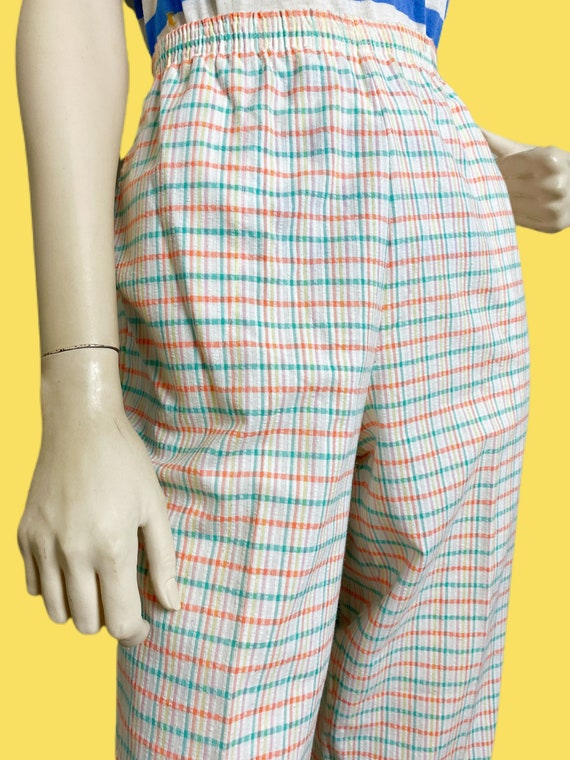 80s cotton Candy Rainbow plaid pants// pastel See… - image 6