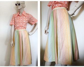 60s/70s Rainbow pleated circle skirt // Midi rainbow striped whimsical vintage skirt// Mod rainbow sorbet skirt // Garden party skirt size M