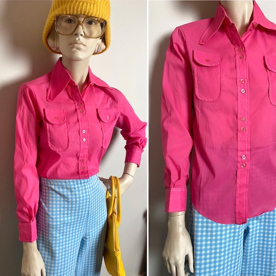 VtG 60s bubblegum pink blouse with beagle collar /