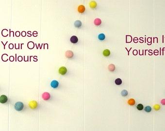 Design Your Own Felt Ball Garland, Bunting, Pom Pom, Nursery, Baby Decor, Childrens, Kids, Boys' Decor, Girls'Decor, Baby Shower, Wall Decor