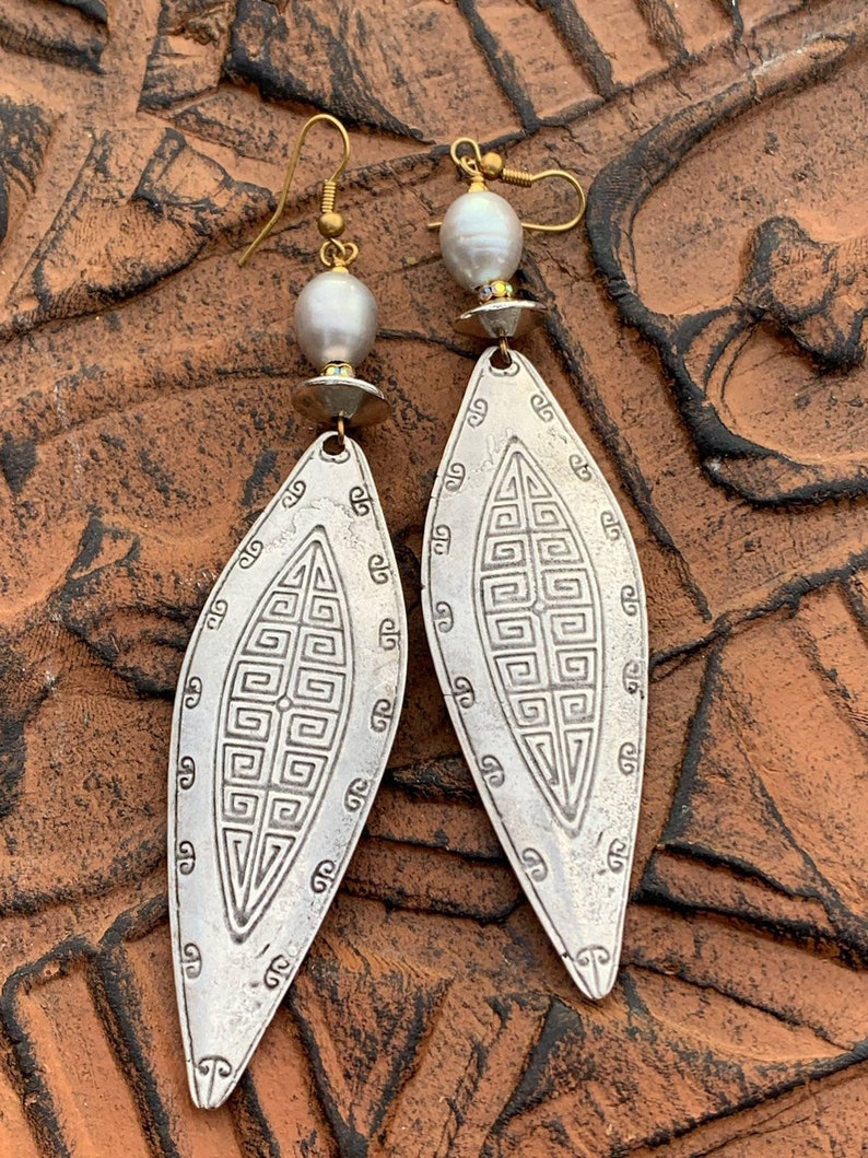 Bold Earrings Statement Earrings Large Silver Earrings Ethnic Jewelry Large Tribal Earrings