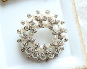 Large Rhinestone Pearl Donut Brooch Silver Base with Pin M03-Wedding DIY Bouquet