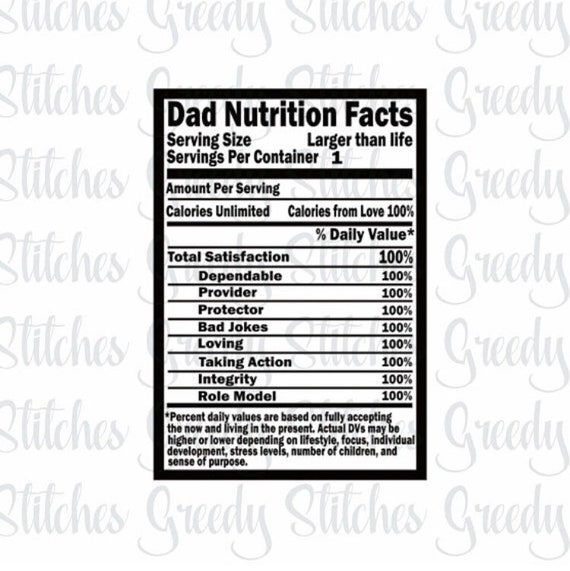Father S Day Svg Dad Nutrition Facts Dad Svg Dxf Etsy