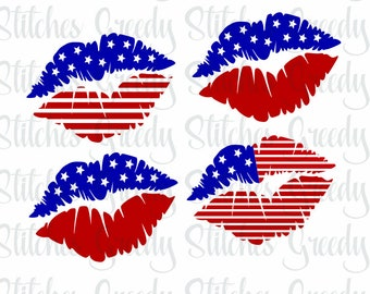 American Flag Lips Set of 4 svg, dxf, eps, png, and wmf. Lips SVG, American Flag SVG, Red | White | Blue svg, Instant Download Cut File.