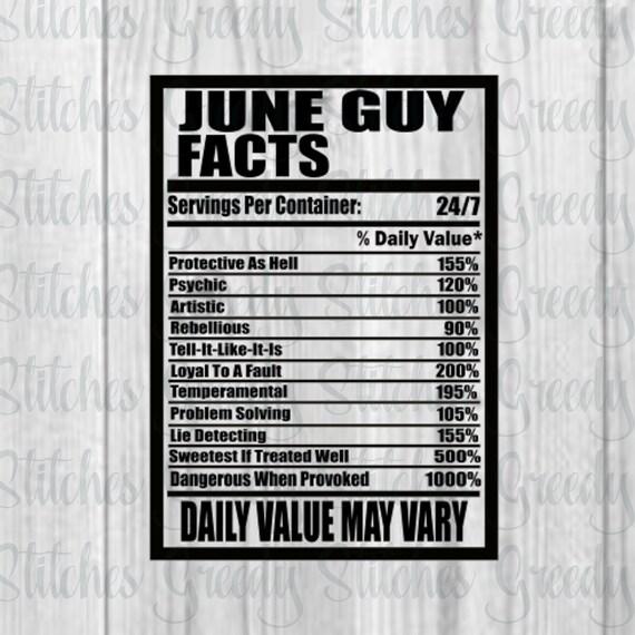 June Birthday Svg June Guy Facts Svg June Birthday Dxf Etsy