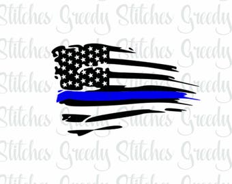 American Flag with Blue Line svg, dxf, fcm, eps, anf png.  Thin Blue Line SVG, American Flag SVG.