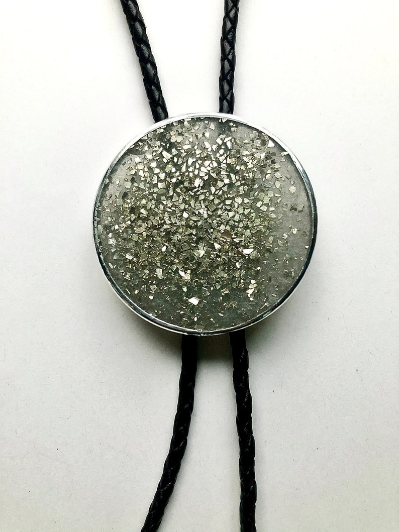 Large Silver Bolo Tie with Silver Flake