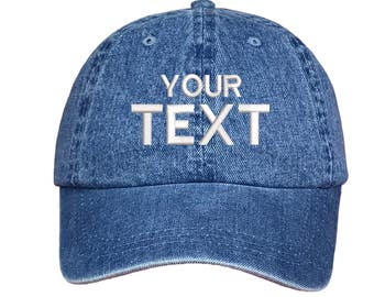 Custom Dad Hat Embroidered Baseball Cap,Your Own Personalized Hat Custom Hat on a Curved Brim Baseball Cap,Choose Your Text,Light Denim Blue