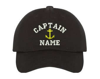 d3f4bf2ca4b Custom Embroidered Personalized CAPTAIN Dad Hat Add your Name Baseball Cap