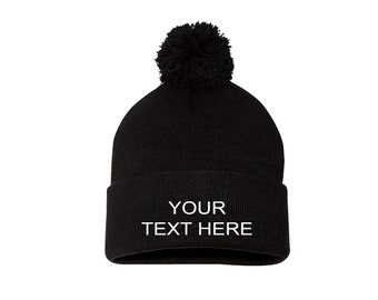 2335ddcedecf7 Custom Text Cap Pom Beanie Customized Gift Customized Beanie Hat Winter Hats  Embroider Your Personalized Pom Beanie Hat Tumblr Beanies