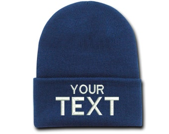 07e22b75d75 Custom Text Cap Embroidered Beanie Hats Personalized Gift Unisex Beanie  Mens Winter Hats Cool Hats Custom Embroidery