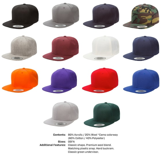 24 Custom Embroidered Yupoong Classic Snapback Hats Caps With  09bd625f67a