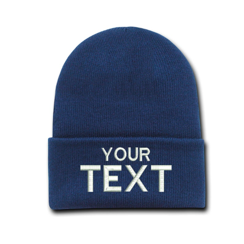 dcf1bf48b241f Custom Text Cap Embroidered Beanie Hats Personalized Gift