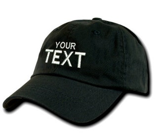 Black Dad Hat Custom Embroidered Baseball Cap, Your Own Personalized Hat Custom Hat on a Curved Brim Baseball Cap, Choose Your Text