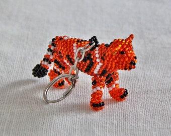 Tiger Keychain, Beaded