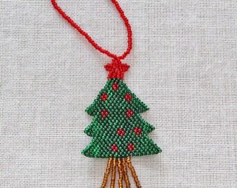 Beaded Christmas Tree Holiday Ornament, Beaded Christmas Tree Ornament, Guatemalan-made