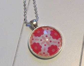 Pink flowers pendant necklace One of a Kind