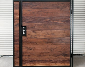 Gate, Fence, Wood and Metal Gate, Exotic Hardwood, Outdoor, Garden, Home Decor, Outdoor Gate, Powder Coating, Wood, Metal