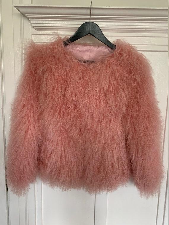 Vintage Pink Mongolian fur Coat