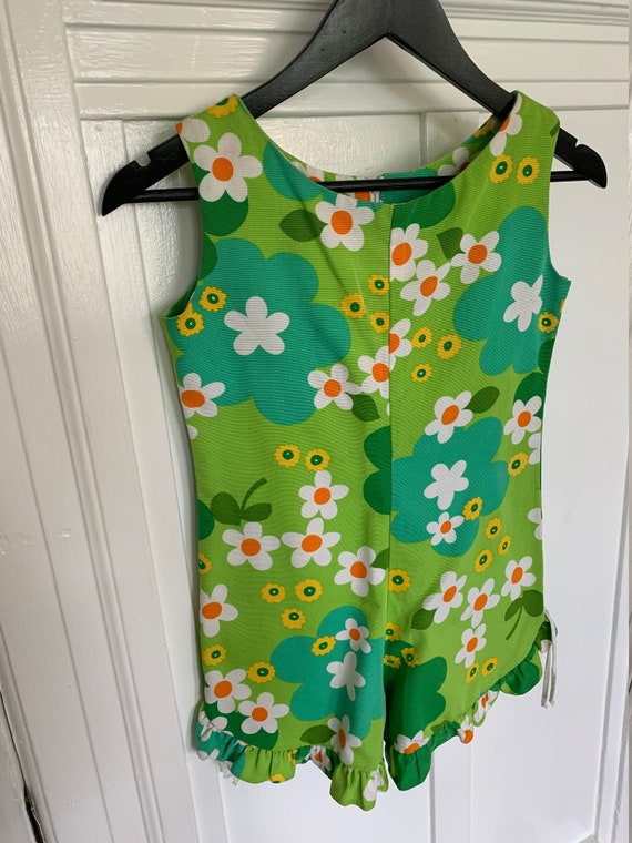Vintage 60s Groovy Flowered Hawaiian Romper