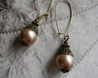 Copper Antique Jewelry Set Vintage Pearl Necklace Taupe Pearl Earrings Champagne Pearl Pendant Unique Gift for Wife Unique Gift Idea Jewelry
